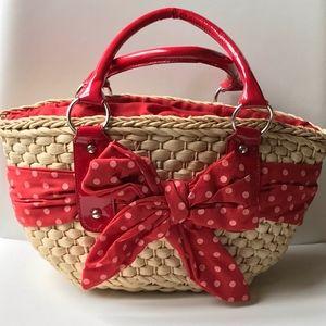 Red Polka Dot Wicker Handbag